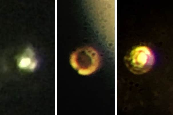 Microscopic images of the stages in the creation of atomic molecular hydrogen: Transparent molecular hydrogen (left) at about 200 GPa, which is converted into black molecular hydrogen, and finally reflective atomic metallic hydrogen at 495 GPa. Courtesy of Isaac Silvera