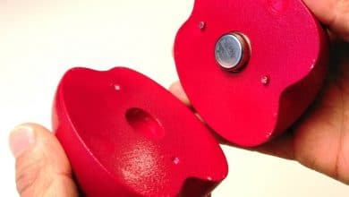 """Photo of Sensor Placed Inside Indirectly 3D Printed Apple """"Spies"""" on Fruit Shipments"""