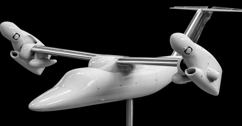 Photo of CRP and Leonardo HD 3D print AW609 aircraft model for wind tunnel testing