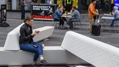 Photo of 3D printed Rely Bench by Joe Doucet protects pedestrians in Times Square