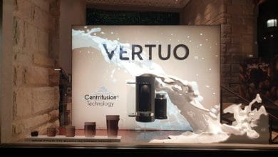 Photo of Composite Images 3D print spectacular Nespresso Vertuo window display
