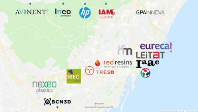 Map showing interesting 3D printing companies in Barcelona, Spain