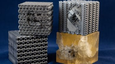 Photo of Rice University researchers 3D print tubulane-inspired cubes that repel bullets