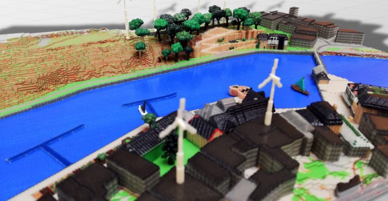 Photo of Sustainable Minecraft town recreated with Mimaki 3D printing