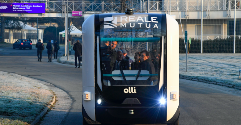 Photo of 3D printed Olli shuttle deploys in Turin at ITC-ILO campus