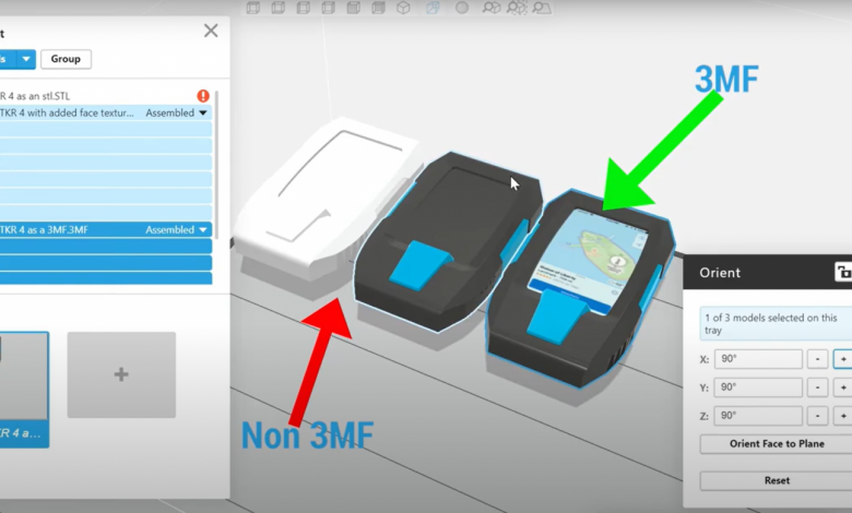 Photo of GrabCAD Print supports 3MF file imports for colors and textures