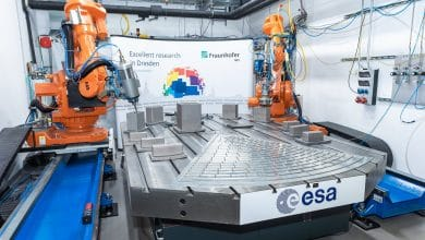 Photo of ESA and Fraunhofer show 3D printing and milling of the Athena X-ray observatory's optic bench