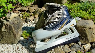 Photo of VBN Components shows off Vibenite material with 3D printed ice hockey skate blade