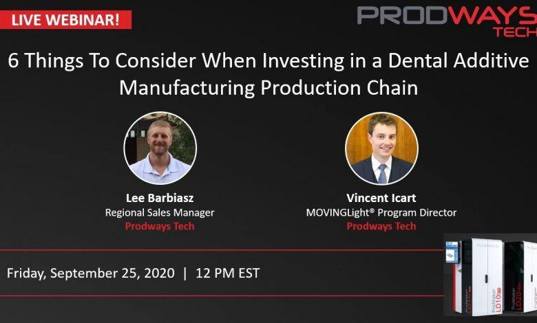 Photo of Prodways Technologies to hold webinar for dental additive manufacturing chain