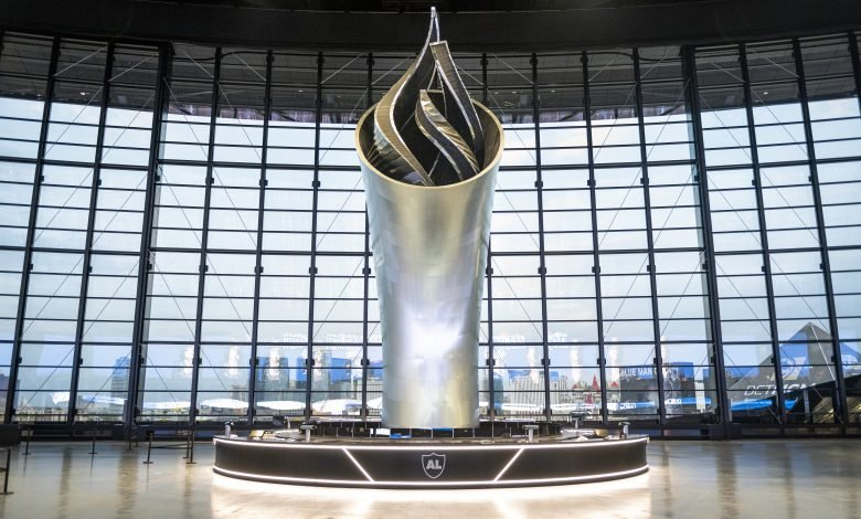 Photo of How Dimensional Innovations 3D printed the 93-ft-tall memorial torch for the Las Vegas Raiders stadium