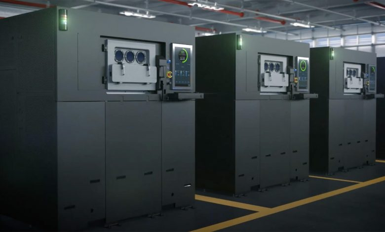 A bank of the smaller Sapphire printers