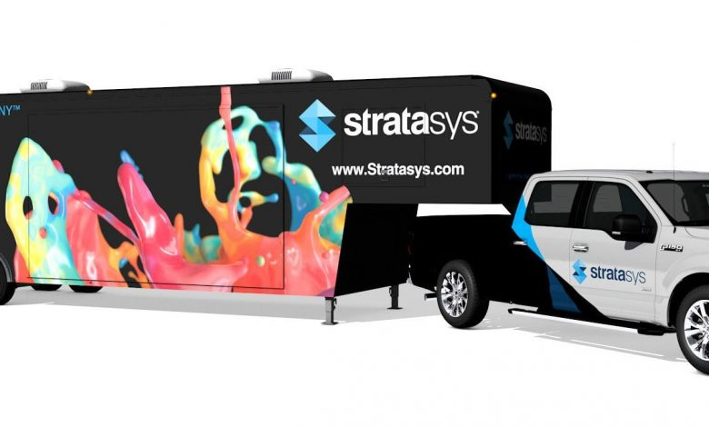 The Stratasys tour truck and trailer