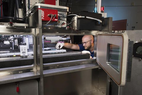 """With funding from the NIST Metals-Based Additive Manufacturing Grants Program, Georgia Tech Research Corp., the University of Texas at El Paso, Purdue University and Northeastern University will help advance metals-based additive manufacturing by leveraging NIST's expertise in the area. NIST mechanical engineer Brandon Lane studies this layer-by-layer printing process in depth to help manufacturers improve their """"recipes"""" for quality parts and assemblies at NIST's Additive Manufacturing Metrology Testbed."""
