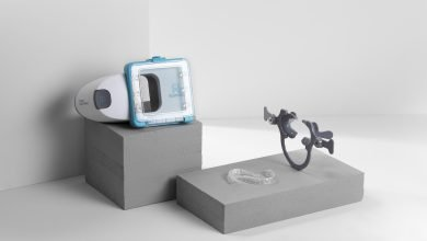 An example of Candid's clear aligners and the scanning kit used to customize them.