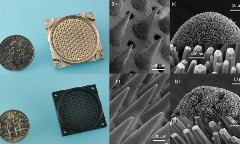 Nanosatellite thrusters that emit a stream of pure ions are the first of their kind to be entirely additively manufactured, using a combination of 3D printing and hydrothermal growth of zinc oxide nanowires. A stainless steel version (top) works better overall but is much more expensive to produce. MIT researchers found that a polymer version (bottom) yields comparable performance at a lower cost.