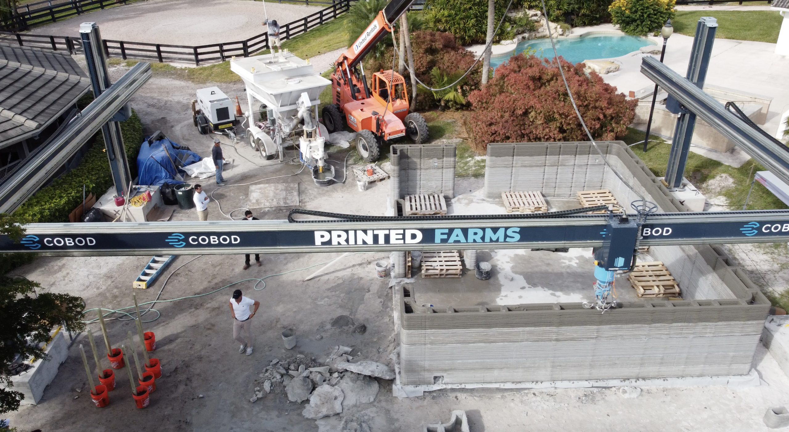 Printed Farms concrete 3D printing site in Florida