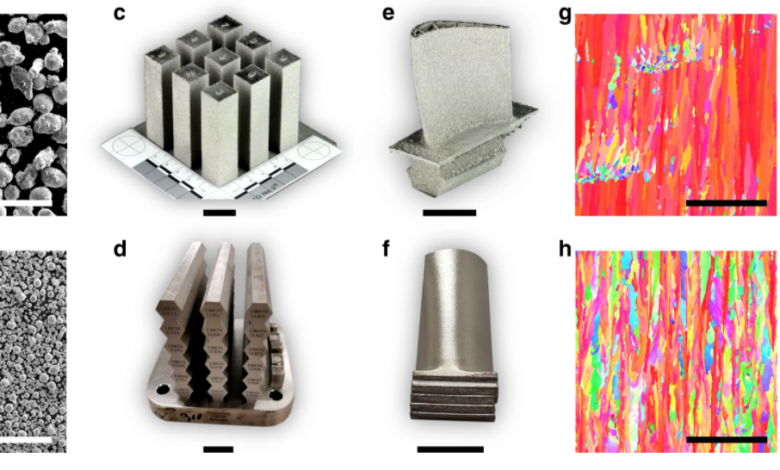 SEM micrographs of metal powder of SB-CoNi-10 used for a EBM and b SLM printing trials. Simple bar geometries have been printed for uniaxial tensile testing c, d in addition to complex geometries such as prototype turbine blades with e internal cooling channels or f thin, over-hanging platforms. IPF maps acquired through EBSD show the grain structure of the as-printed CoNi-base superalloy along the build direction manufactured through g EBM and h SLM. The scale bars for a, b and g, h are 500μm. The scale bars for c–f are 2cm.
