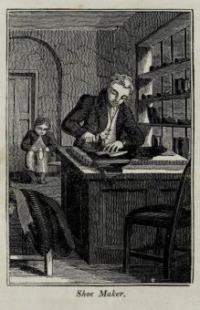 Woodcut engraving from The Book of English Trades, 1827.