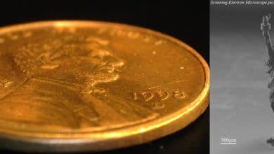 Microlight's Statue of Liberty on the American one-cent coin.