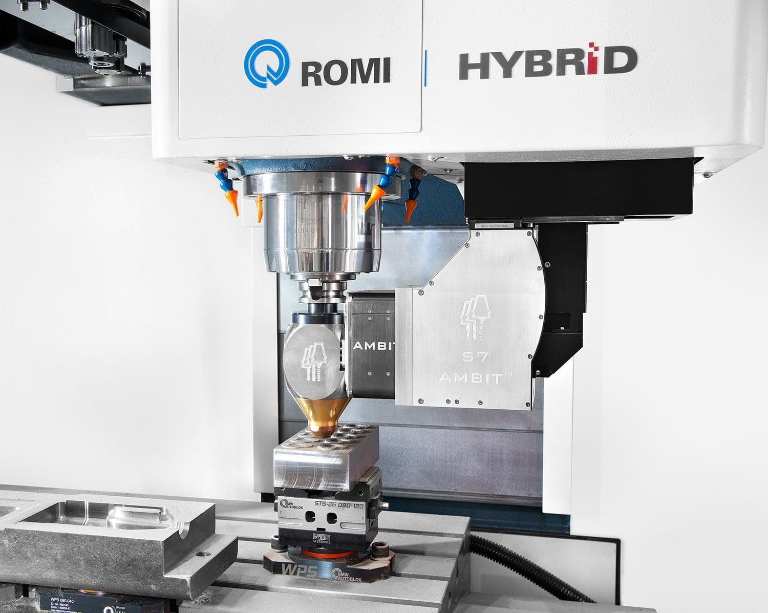 The hybrid manufacturing interchangeable heads.