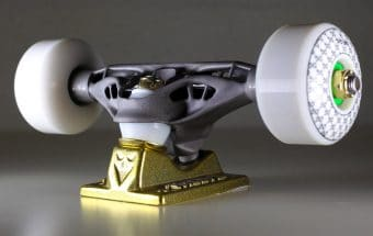 Skateboard truck manufactured using Autodesk software with DMLS titanium. Photo courtesy of Troy Young.