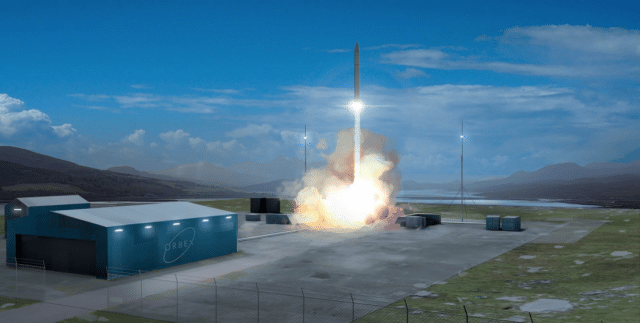 A 3D rendering of Orbex's launch site.