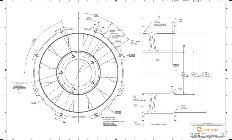 A Sintavia schematic that is subject to the AS 9100 standard.