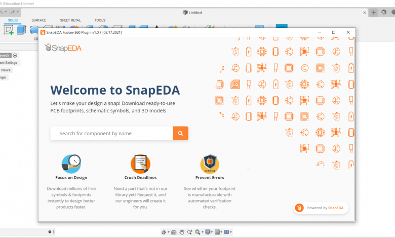 SnapEDA's welcome screen.