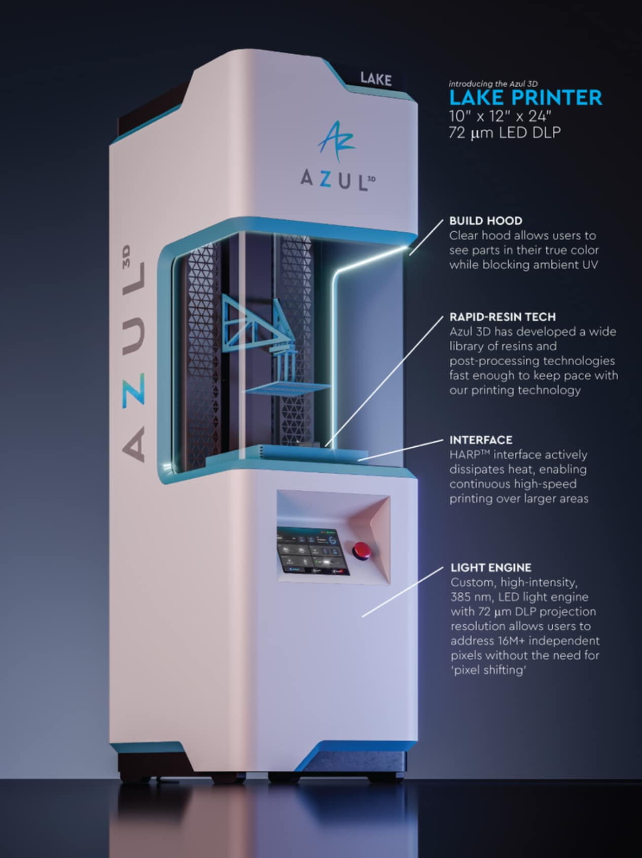 Azul 3D launches new LAKE printer leveraging HARP technology